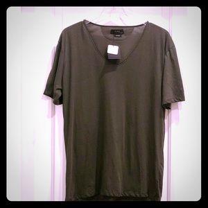 Zara Men's Deluxe Forest Green Cotton V-neck Tee